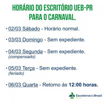 Horário do Escritório UEB-PR para o Carnaval